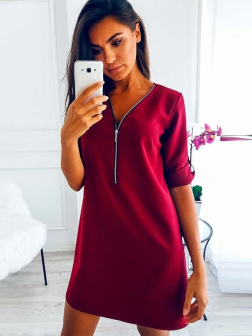 Long Sleeve Zipper V-Neck Spring Women's Day Dress