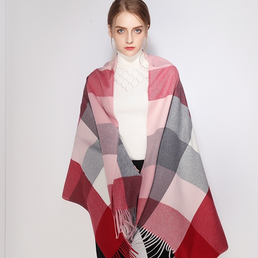 Color Patchwork Plaid Soft Imitation Cashmere Scarves