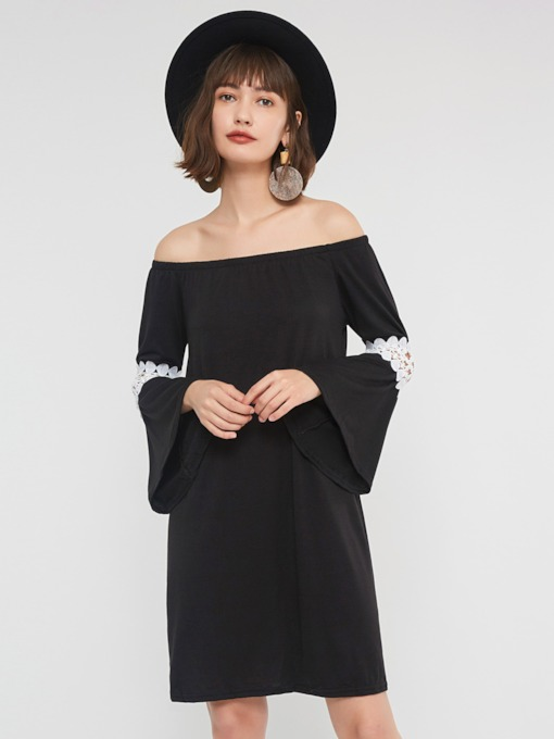 Hollow Off Shoulder Women's Long Sleeve Dress