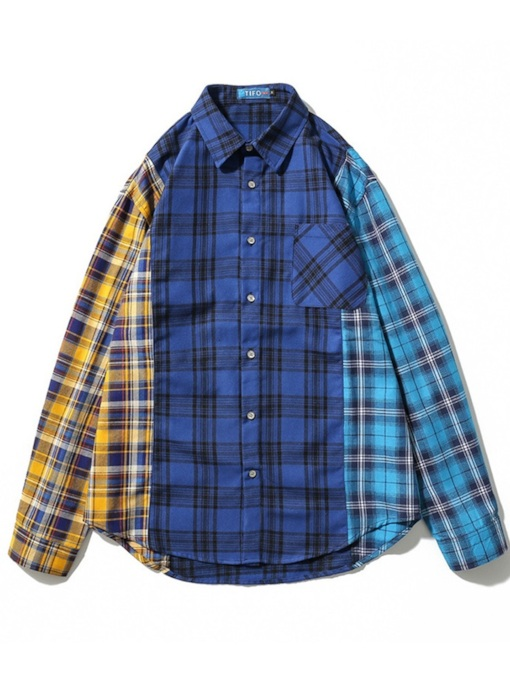 Lapel Plaid Patchwork European Men's Shirt