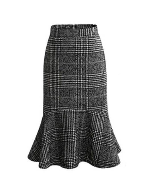 Mermaid Mid-Calf High-Waist Patchwork Fall Women's Skirt