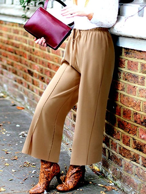 Split Loose Plain Ankle Length Women's Casual Pants