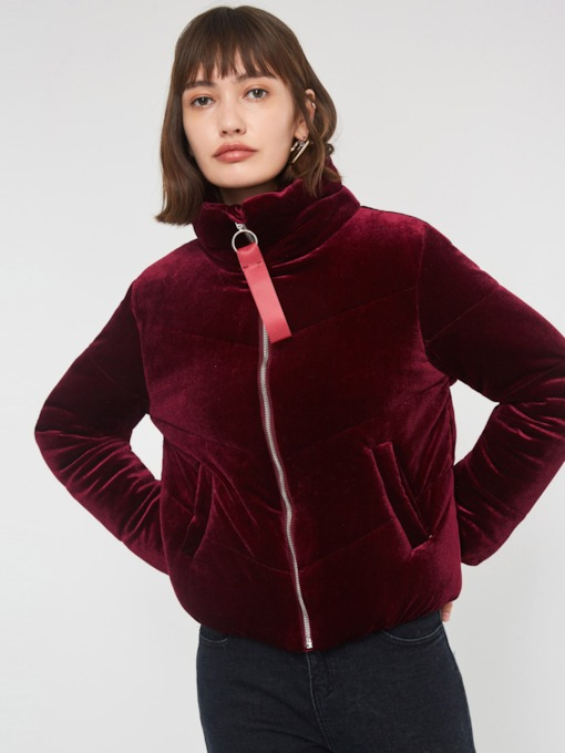 Turtleneck Zipper Plain Women's Coat
