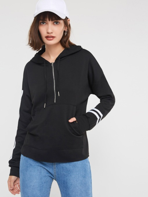 Drawstring Kangaroo Pocket Stripe Women's Hoodie