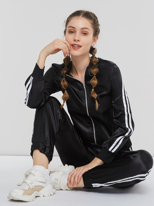Plain Zipper Casual Hoodie & Harem Pants Women's Two Piece Sets