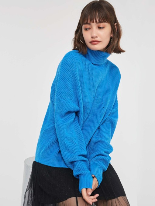 Loose Hollow Turtleneck Women's Sweater