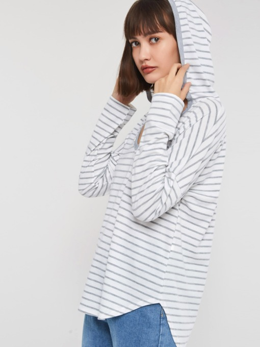 V-Neck Stripe Hooded Women's T-Shirt