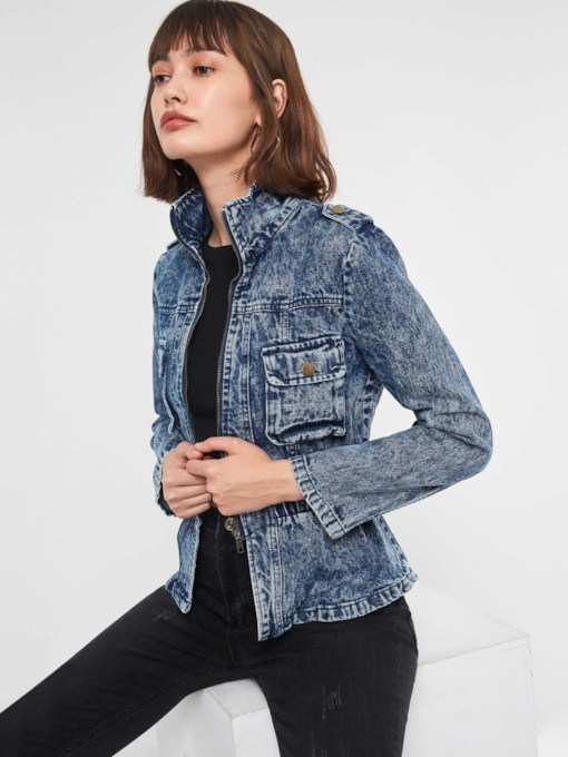 Slim Stand Collar Pocket Women's Denim Jacket