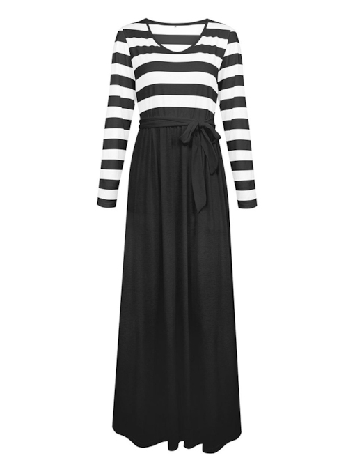 V-Neck Stripe Patchwork Women's Long Sleeve Dress