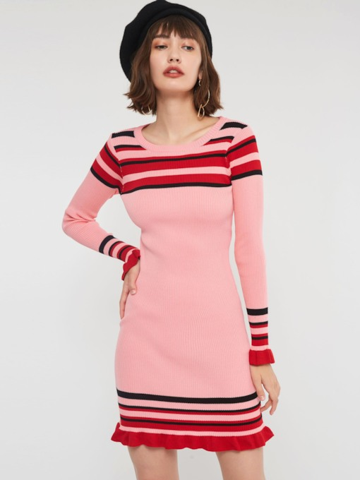 Round Neck Long Sleeve Stripe Women's Sweater Dress