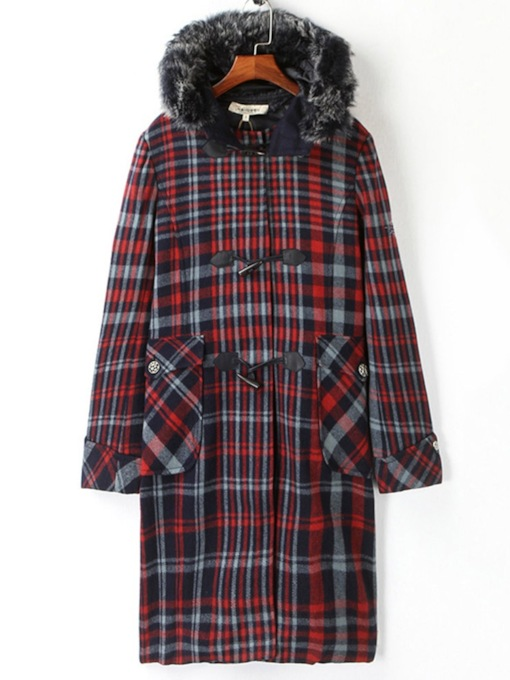 Horn Button Plaid Mid-Length Faux Fur Hooded Women's Overcoat