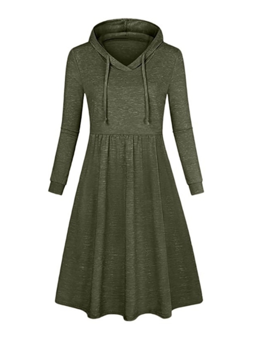 Hooded Pullover Trumpet Women's Long Sleeve Dress