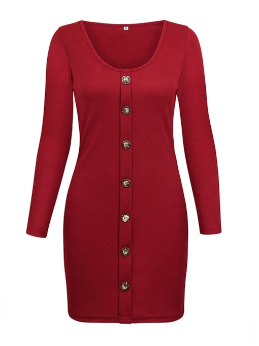 Christmas Button V-Neck Bodycon Women's Long Sleeve Dress