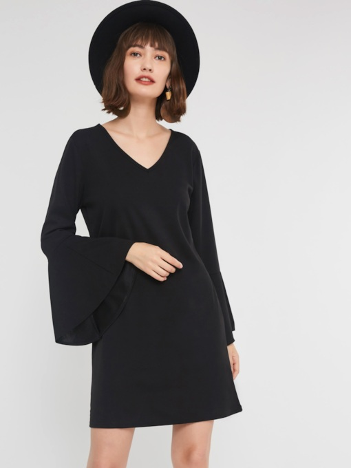 Pullover V-Neck Women's Long Sleeve Dress