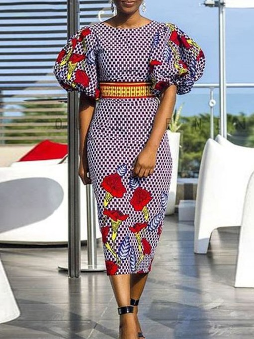 African Fashion Floral Round Neck Lantern Sleeve Women's Bodycon Dress