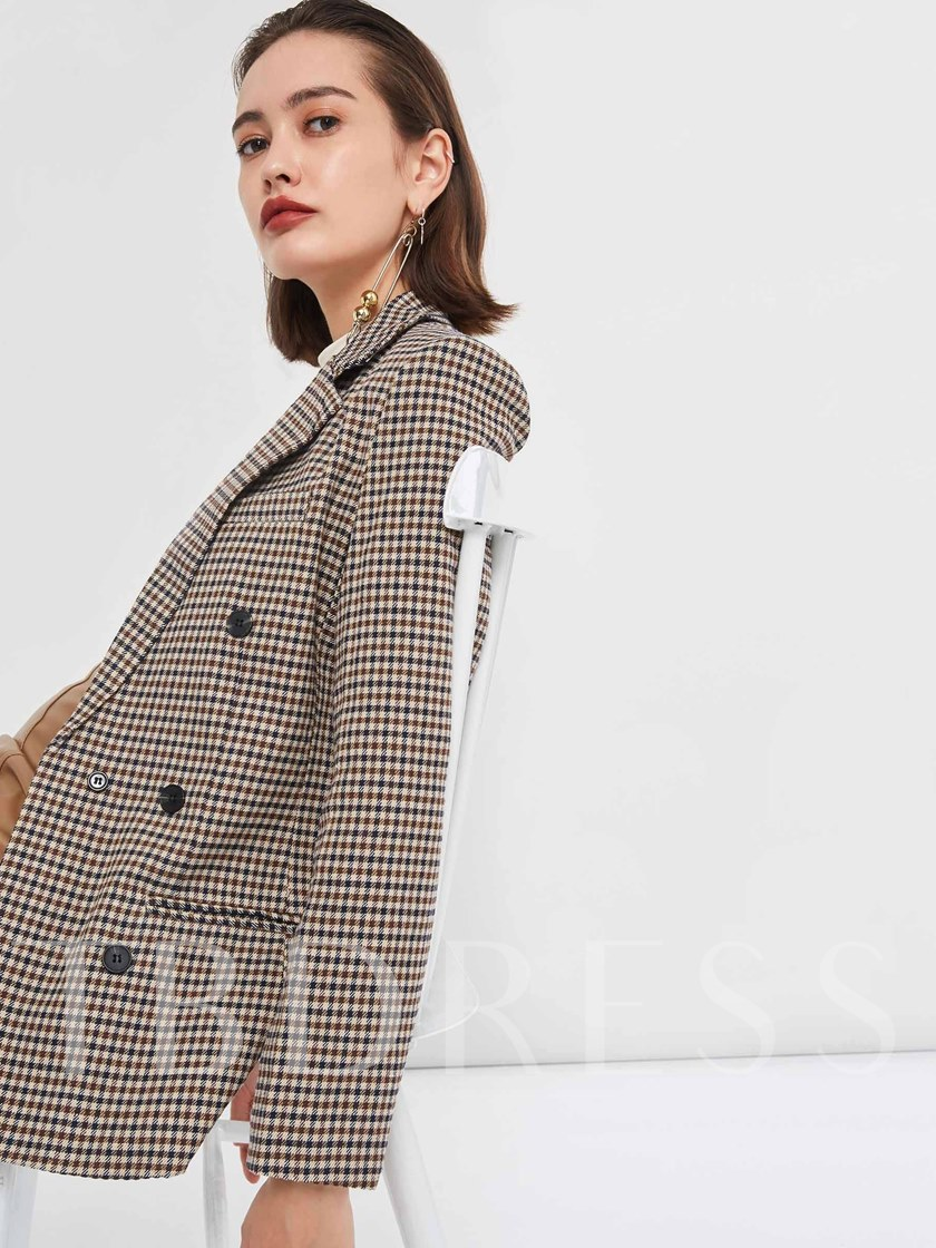 Notched Lapel Double-Breasted Plaid Women's Blazer