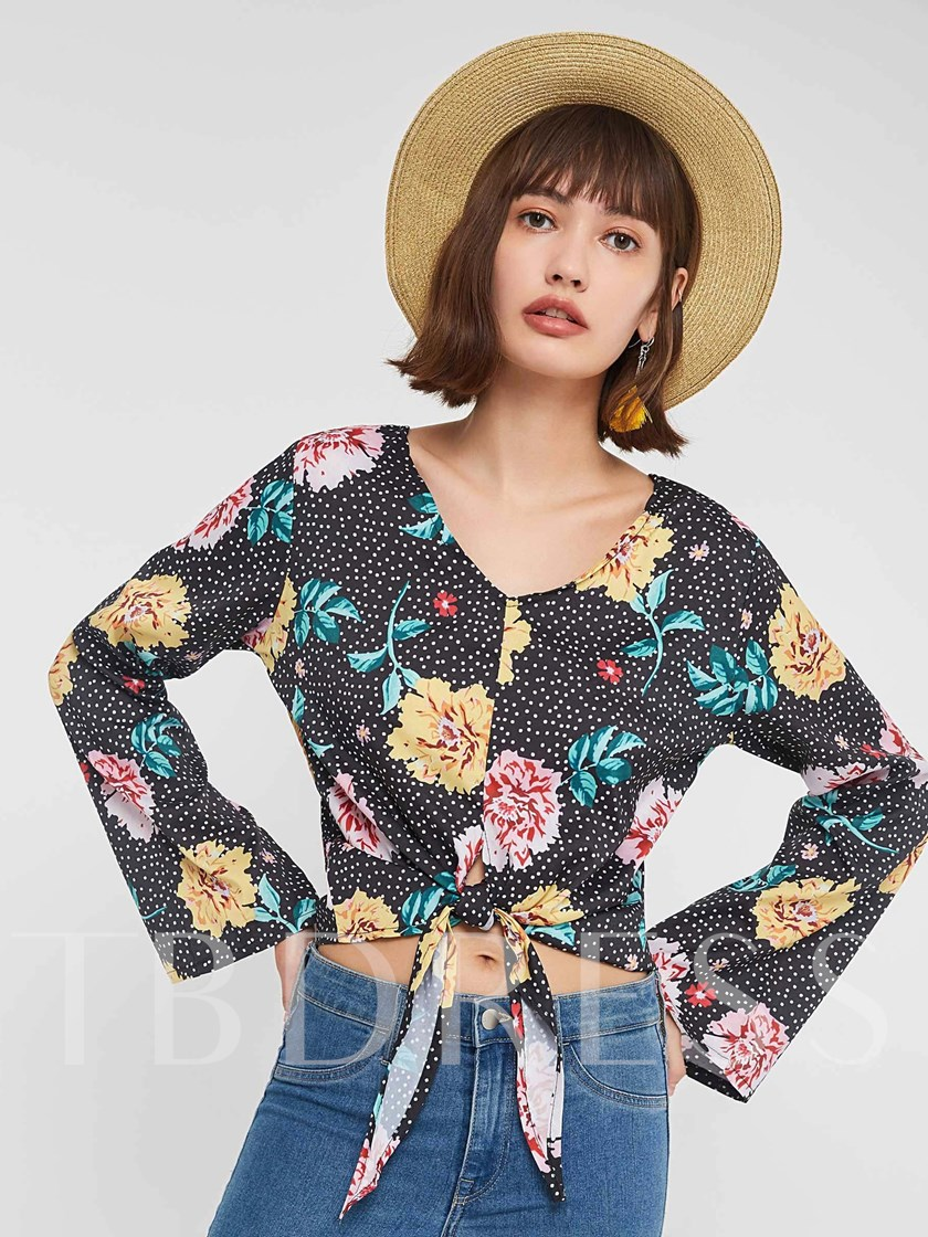 V-Neck Print Floral Lace-Up Flare Sleeve Women's Blouse