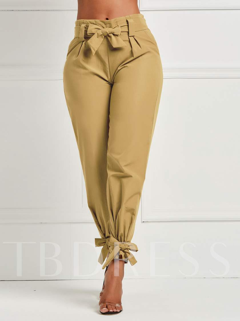 Bowknot Loose Full Length Women's Casual Pants