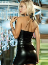 Halter Zipper Plain Patent Leather Sexy Chemise