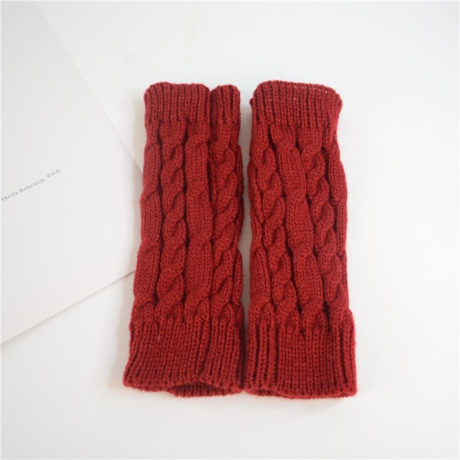 Plain Twisted Casual Winter Gloves