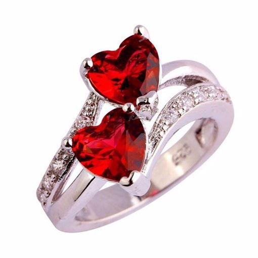 Double Heart Shape 925 Silver Plated Bronze Ring