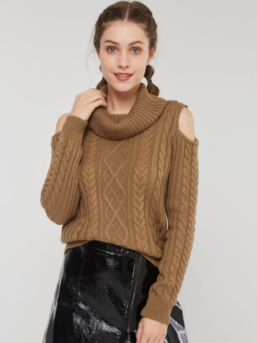High Neck Cold Shoulder Jacquard Weave Women's Sweater