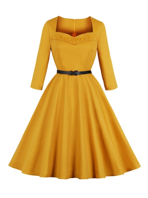 Button Pullover Vintage Women's Day Dress