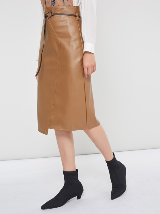 Knee-Length Asymmetric High-Waist Plain Women's Pencil Skirt