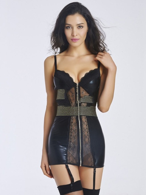 Zipper See-Through Tight Wrap Chemise