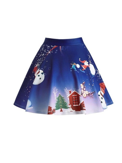 Christmas Print High-Waist A-Line Cartoon Women's Mini Skirt
