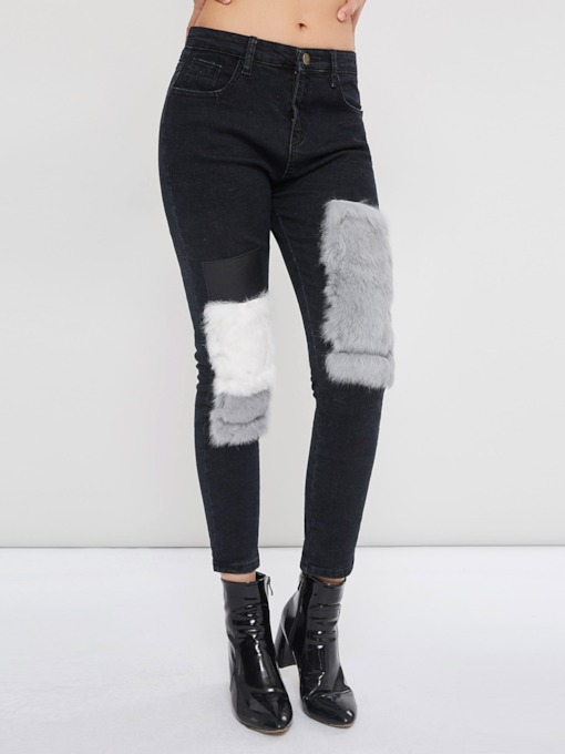Loose Patchwork Color Block Straight Women's Jeans