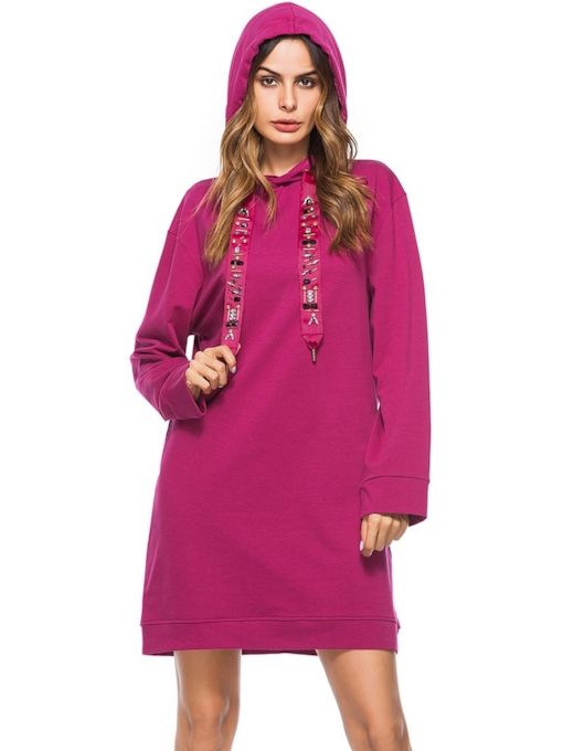 Pullover Bead Casual Women's Long Sleeve Dress
