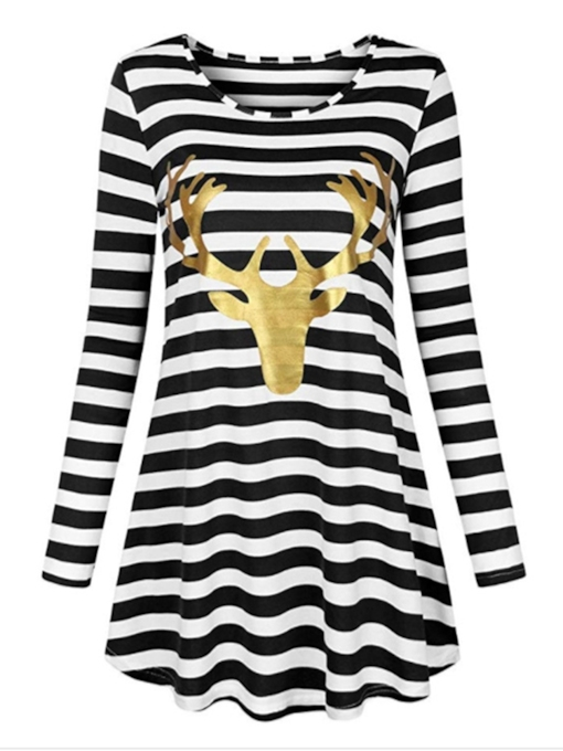 Round Neck Stripe Prints Women's Long Sleeve Dress