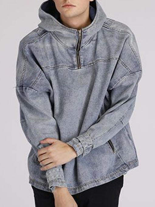 Loose Zipper Plain Hooded European Men's Denim Jacket
