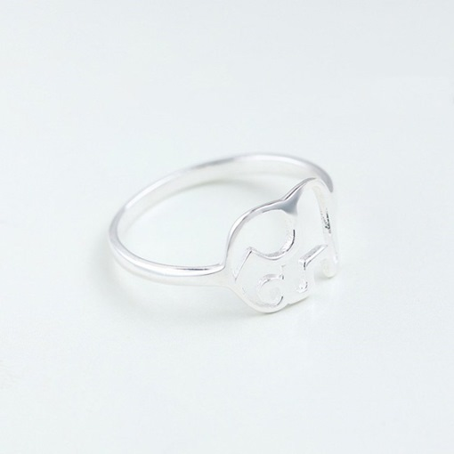 Hollow Out Elephant Shape Silver Plated Metal Ring