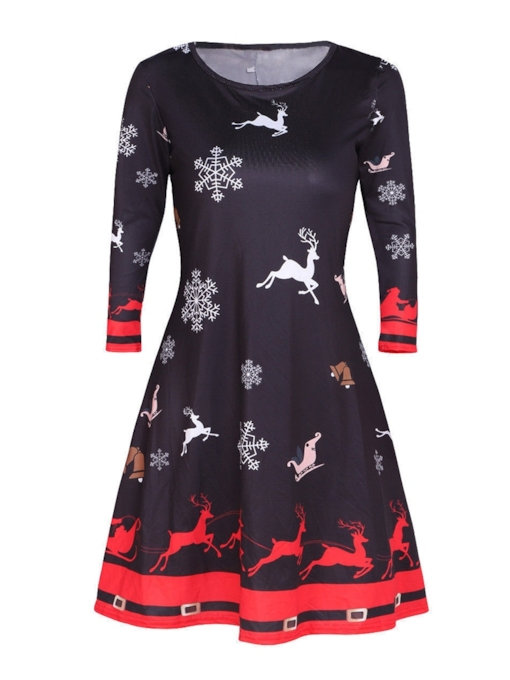 Christmas Print Round Neck Casual Women's Long Sleeve Dress