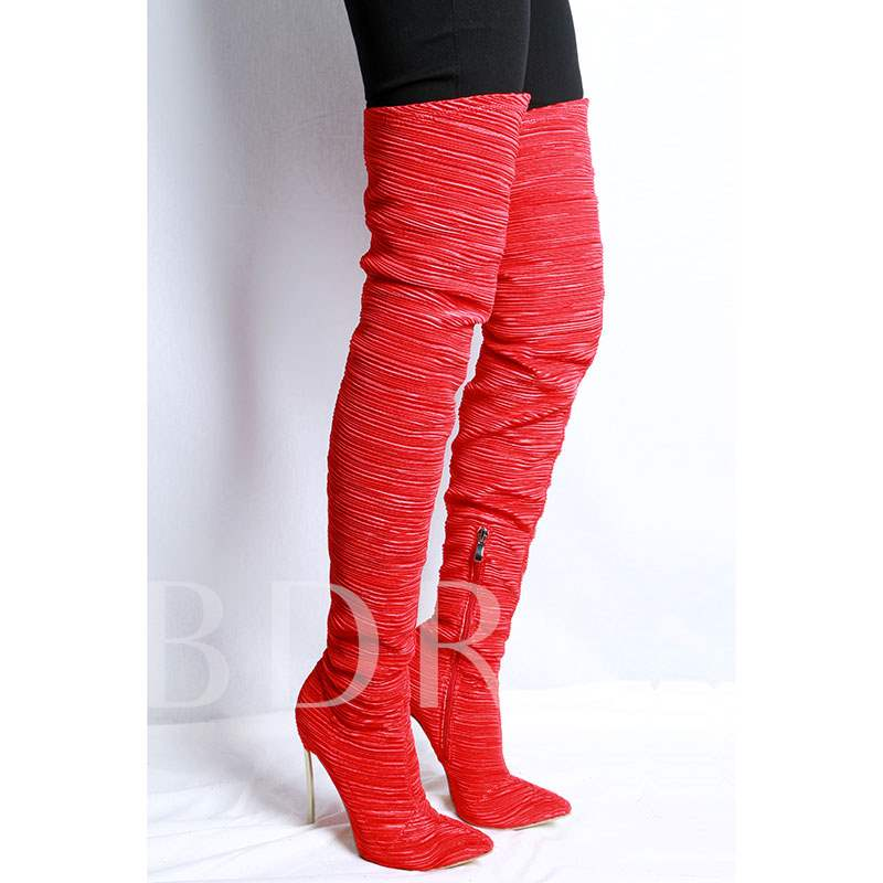 Spandex Pointed Toe Slip-On Stiletto Heel Customized Thigh High Boots