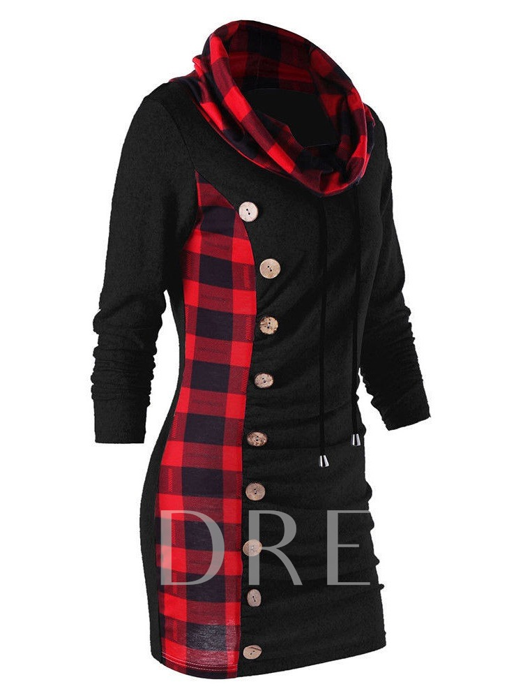 Heap Collar Plaid Mid-Length Women's Sweatshirt