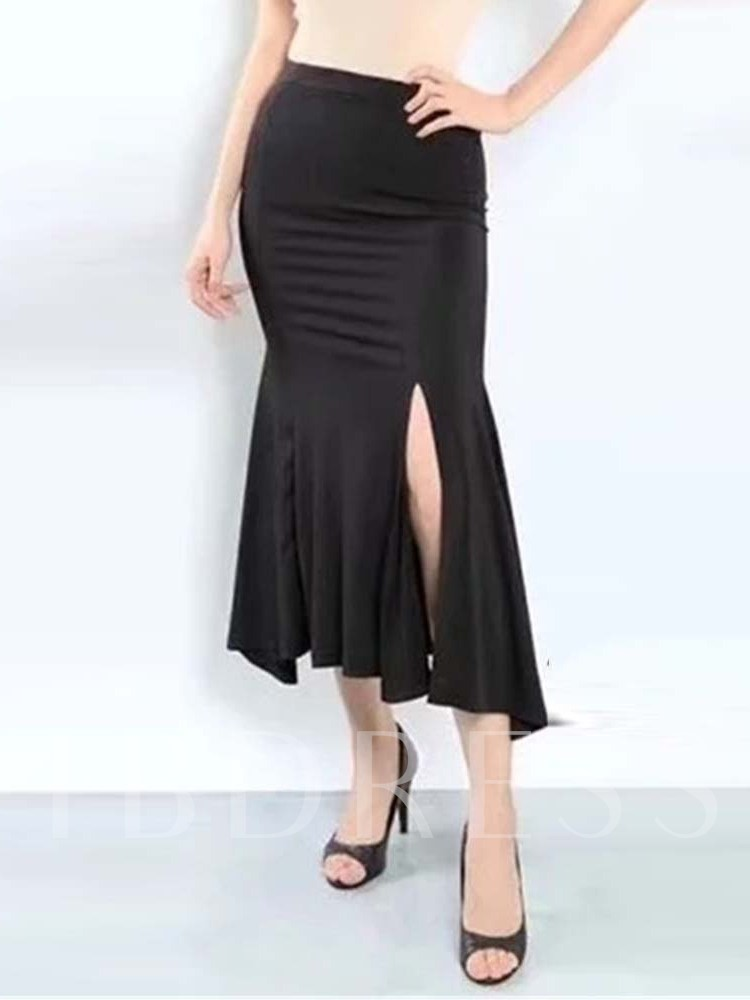 Mermaid Mid-Calf High-Waist Plain Women's Skirt