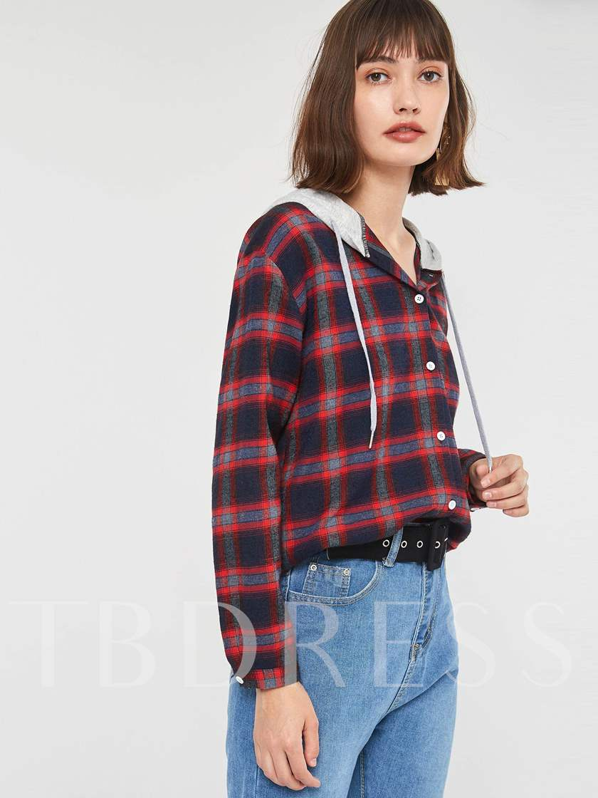 Hooded Plaid Single-Breasted Women's Shirt