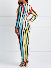Stripe Full Length Print Sexy Slim Women's Jumpsuits