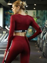 Workout Suit Long Sleeves Letter Anti-Sweat Active Set