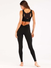 Workout Suit Sleeveless Patchwork Breathable Quick Dry Sports Set for Women