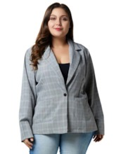 One Button Notched Lapel Plaid Plus Size Women's Blazer