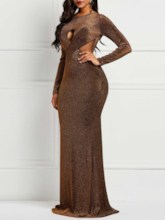 Bowknot Floor-Length Round Neck Long Sleeve Women's Party Dress