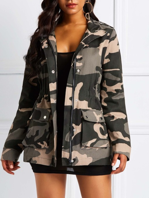 Drawstring Waist Dual Pockets Camouflage Women's Trench Coat