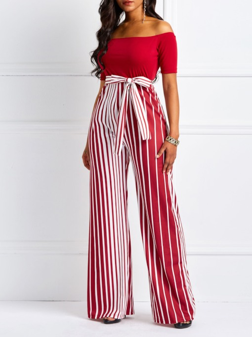 Full Length Backless Stripe Wide Legs Women's Jumpsuits