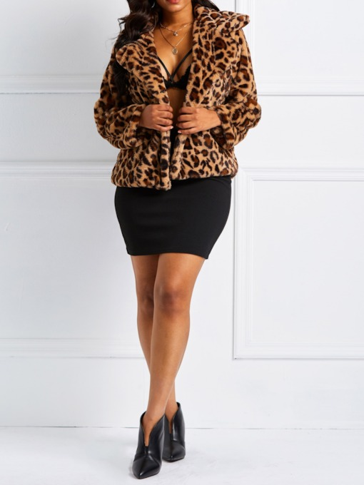 Fluffy Leopard Notched Lapel Women's Jacket
