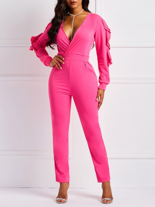 Plain Casual Full Length Pencil Pants Women's Jumpsuits