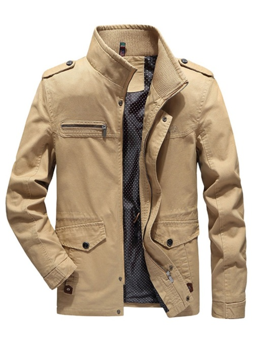 Zipper Stand Collar Slim Plain Men's Jacket